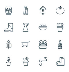 Set of 16 planting icons includes dwarf desert vector