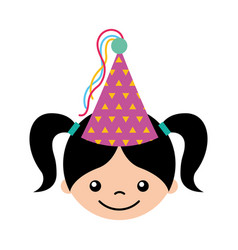 Cute girl with party hat character icon vector