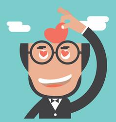 Businessman keeps heart in bald head vector
