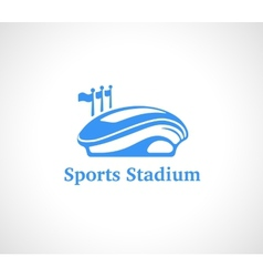 Sports stadium logo in blue vector