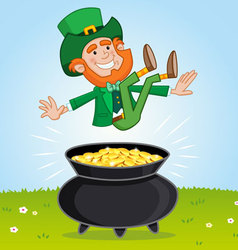 Leprechaun and his pot of gold vector