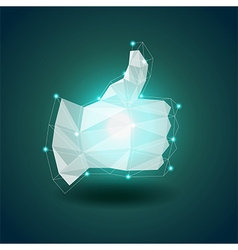 Luminous polygonal hand thumbs up background vector