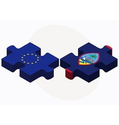 European union and guam flags in puzzle isolated vector