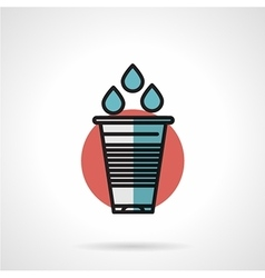 Water plastic glass flat line icon vector