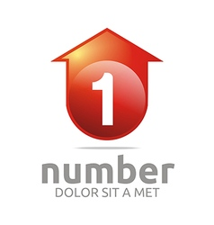 Abstract logo number 1 figure arrow house symbol vector