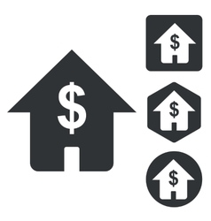 Dollar house icon set monochrome vector