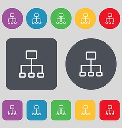 Social network icon sign a set of 12 colored vector
