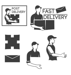 Monochrome logo of the courier or mail carrier vector