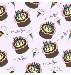 Seamless pattern with cake celebration dessert vector