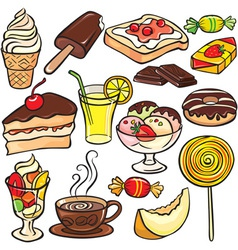 Desserts sweets drinks icon set vector