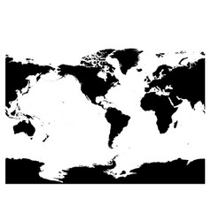 America centered world map high detail black vector