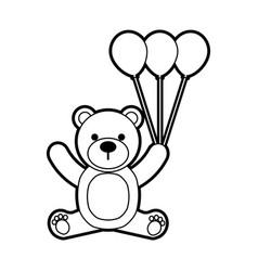 baby shower teddy girl and balloon cute animal vector image