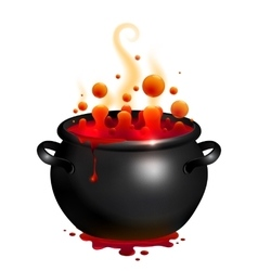 Black cauldron with red witches potion vector image