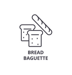 Bread baguette line icon outline sign linear vector