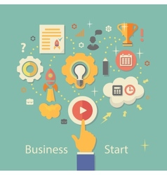 Business Startup Gears infographics with people vector image vector image