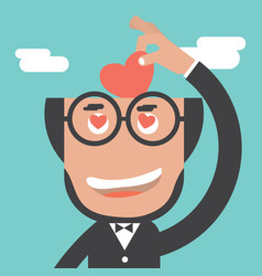 Businessman keeps heart in bald head vector