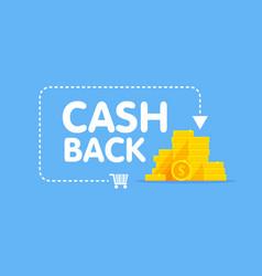 Cashback concept logo coins and arrow vector