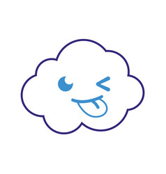 Color line funny and cute cloud kawaii weather vector