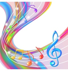 Colorful abstract notes music background vector image vector image