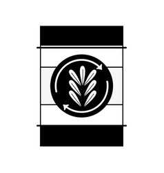 Contour tank with plant symbol to environment care vector