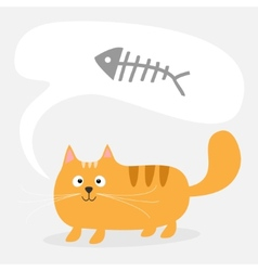 Cute cartoon red cat and talk think bubble fish vector