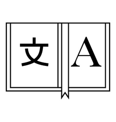 Dictionary japanese to english icon outline style vector image
