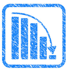 Falling acceleration chart framed stamp vector