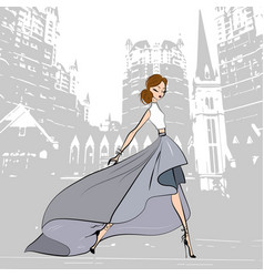 fashionable beautiful girl in green grey skirt vector image vector image