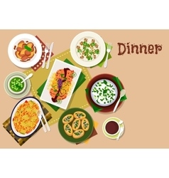 Festive dinner dishes icon for healthy menu design vector