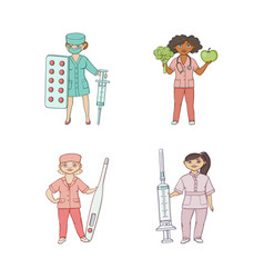 Flat cartoon female doctors with huge objects vector