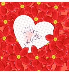 flowers and valentine card vector image