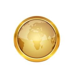 Golden button with globe vector