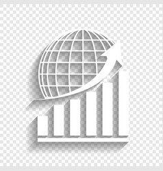 Growing graph with earth white icon with vector