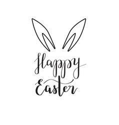 Happy easter rabbit ear calligraphy vector
