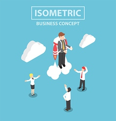 Isometric businessman flying with a jetpack vector