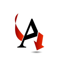 Logo abstract letter a with red arrow vector