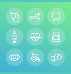 Medical icons set in linear style vector