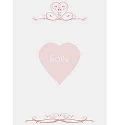 Paper letter with floral patterns and love heart vector