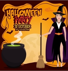 poster halloween party with witch isolated vector image vector image