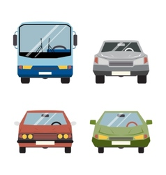 Retro Flat Car Icons Set vector image