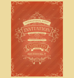 Retro red invitation background vector