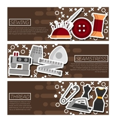 Set of Horizontal Banners about Sewing vector image vector image
