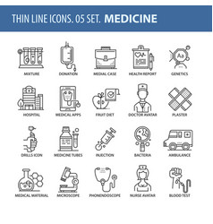 set of thin line flat icons medicine vector image vector image