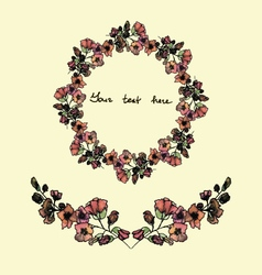 Set of watercolor wreath and bordersvintage style vector image