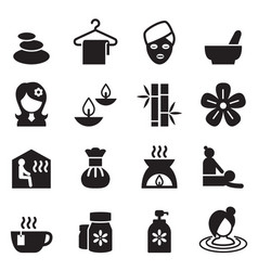 Spa beauty healthy massage icons set 2 vector