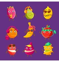 Tropical fruit cool cartoon characters on vacation vector