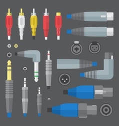 various audio connectors and inputs set vector image vector image