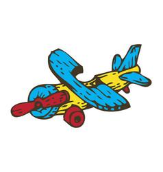 Wooden toys aircraft vector