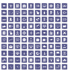 100 e-learning icons set grunge sapphire vector
