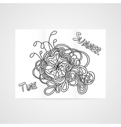 Poster with abstract hamd drawn flower vector